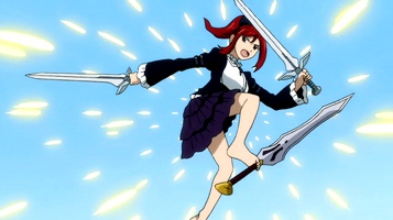 102 Erza deflecting Evergreens blade with feet